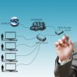 Businessman draws LAN diagram — Stock Photo