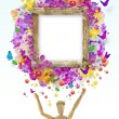 Wood frame with flower — Stock Photo