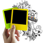 Blank colorful photo frame and doodle background — Stock Photo