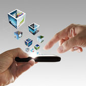 Mobile phone in hand streaming 3d images — Stock Photo