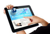 Hands touch screen on tablet pc — Stock Photo
