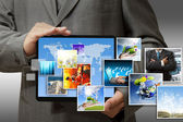 Business hand show touch pad concept — Stock Photo