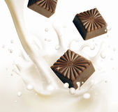 Milk and chocolate — Stock Photo
