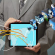 Stock Photo: Touch tablet concept images streaming