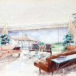 Sketch of an interior living room — Stock Photo #13120194