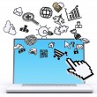 Laptop computer with pixel computer icons — Stock Photo #13120649