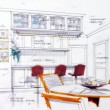 Foto de Stock  : Design sketch of kitchen interior