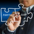 Partnership written puzzle pieces — Stock Photo