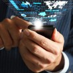 Business man hand use mobile phone streaming virtual business ne — Stock Photo