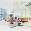 Stok fotoğraf: Sketch of interior living room