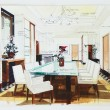 Zdjęcie stockowe: Simple sketch of interior design of dining room