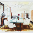 Stockfoto: Simple sketch of interior design of dining room