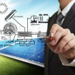 Stockfoto: Engineer draws hybrid power system,combine multiple sources diag