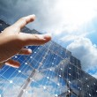 Hand reach the sun concept renewable, alternative solar energy, - Stock Photo