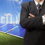 Business man success with energy saving — Stock Photo #13123923