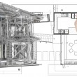 House model on blue print — Foto Stock
