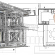 House model on blue print — 图库照片