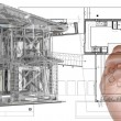 House model on blue print — Stok fotoğraf