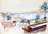 Sketch of an interior living room — Stock Photo
