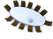 Top view of a table for meeting with copy space — Stock Photo