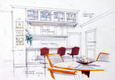 Design sketch of kitchen interior — Stok fotoğraf