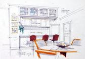 Skica designu interiéru kuchyně — Stock fotografie