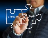 Partenariat écrit des pièces de puzzle — Photo