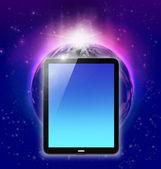 Tablet pc op planeet aarde en zonsopgang achtergrond — Stockfoto