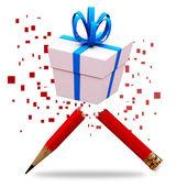 Mano di scatola regalo disegno schizzo illustrazione — Foto Stock