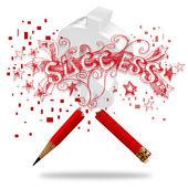 Palavra lápis e sucesso — Fotografia Stock