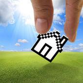 Pixel house icon — Stock Photo