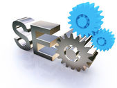 SEO - Search Engine symbol with gears — Stock Photo