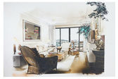 Sketch of an interior living room — Stock fotografie