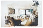 Skiss av en inredning vardagsrum — Stockfoto