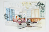 Sketch of an interior living room — 图库照片
