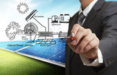 Ingenieur trekt hybride macht systeem, het combineren van meerdere bronnen diag — Stockfoto