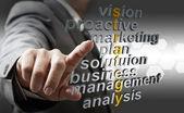 3d strategia business e concetto di parole correlate — Foto Stock