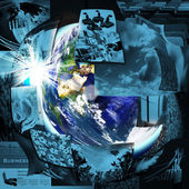 Illustrated montage of the earth with a global network — Stock Photo