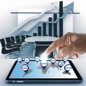 Hand point business success icon with tablet computer — Stock Photo