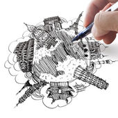Hand drawing the dream travel around the world — Stock Photo
