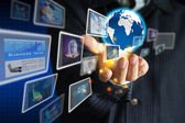 Hand halten Welt der Business-collection — Stockfoto
