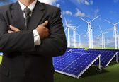 Business man success with energy saving — Stock Photo