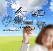 Businesswoman draws hybrid power system,combine multiple sources — Stock Photo