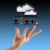 Hands exhibiting the cloud computing — Stock Photo