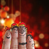 Fingers Family and christmas — Stock Photo