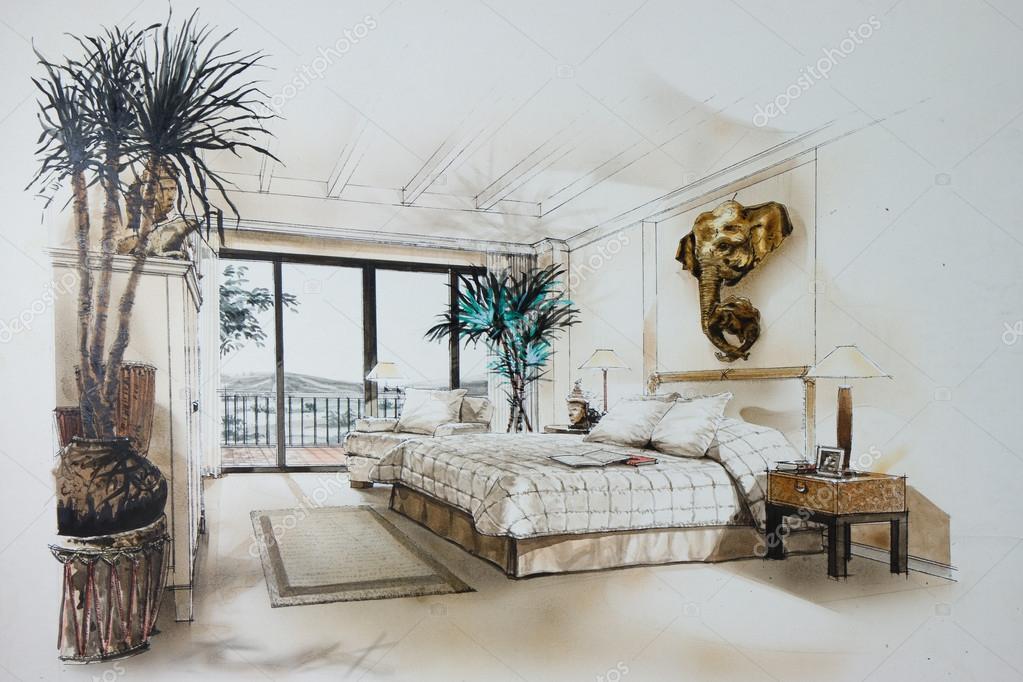 Boceto Grafico Un Dormitorio Foto De Stock 13122558
