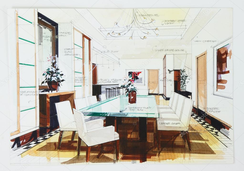 Simple sketch of an interior design of a dining room for Interior designs 2000