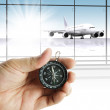 Hand holds the compass showing the right direction — Stock Photo #13140898