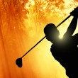 Stockfoto: Golfer putting ball on green