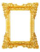 Guld bildramen. isolerad på vit — Stockfoto